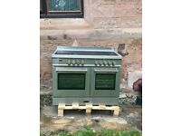 Britannia range cooker . Q Line 100cm twin . Stainless steel .