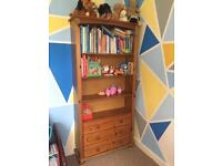 Solid pine bookcase / shelf with drawers