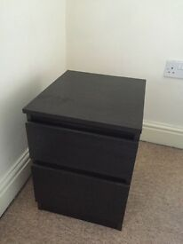 Black Bedside Table with 2 Drawers