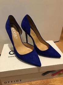 Office cobalt blue suede heels