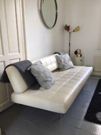 Pierrot King Sofa Bed Italian Cream Leather by Bonaldo