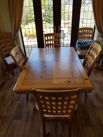 REDUCED Pine 6 setting solid wood table and chairs. Wooden. Fabric. Cream. Extendable. Inlay.