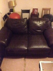 3+2 real leather brown sofas. £50 ono