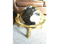 Semi precious stone rotating globe with brass fittings