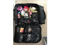 Makeup and hair cases filled with products!