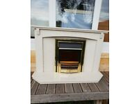 ELECTRIC FIRE AND MARBLE FIREPLACE