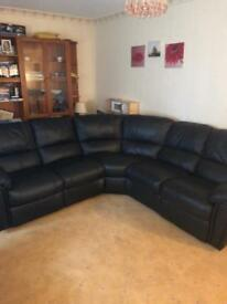 Littlewoods Violina Leighton Recliner Black Leather Corner Sofa