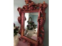 FANCY CARVED ROCOCO ANTIQUE STYLE MIRROR