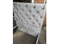 Grey Crushed Velvet - Single Bed Frame