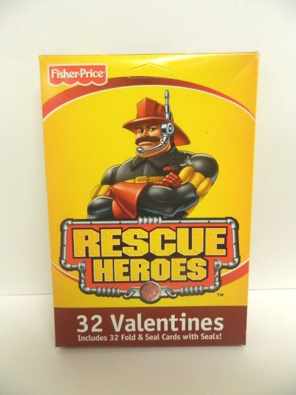 FISHER PRICE RESCUE HEROES VALENTINES 32 FOLD & SEAL CARDS WITH SEALS