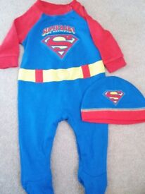 New and unused 3-6 months superbaby sleepsuit with hat