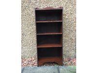 Dark wood narrow bookcase H107cm x W 46cm x D 18 cm