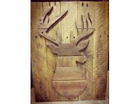Wooden stags head