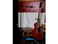 Westfield LP copy in wine red with Tanglewood 15w amp, microphone, mic stand and all leads etc.