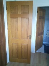13 internal 6 panel solid doors with brass handles & hinges. £15 each ono. Job lot £125.