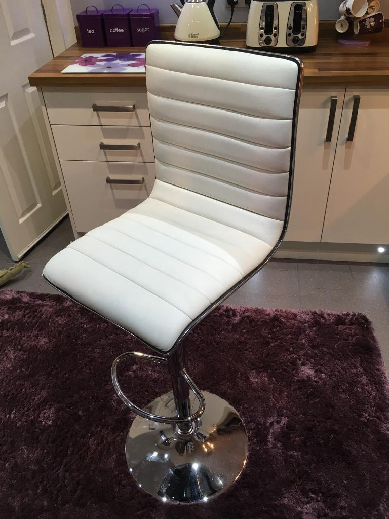 x3 white leather and silver chrome breakfast bar stools