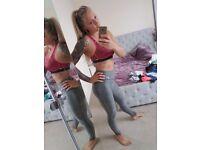 Nike Grey Dri Fit Leggings & Pink Dri Fit Bra Size Small