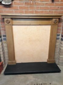 Antique Pine Fire Surround with Black Slate Hearth