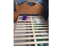 Pine solid wood double bed frame - mattress available too
