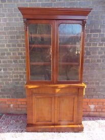 ICTORIAN ENGLISH ANTIQUE MAHOGANY GLASS FRONTED BOOKCASE FITTED WITH SHELVES ...V.G.CONDITION