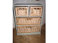 Shabby Chic painted small storage unit.Sage green/wicker drawers.Ideal kitchen or bathroom.