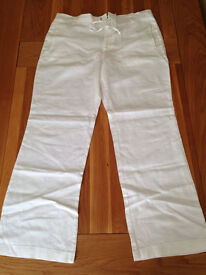 "Next Men's White Linen Trousers (36""R) (never worn) JUST REDUCED"