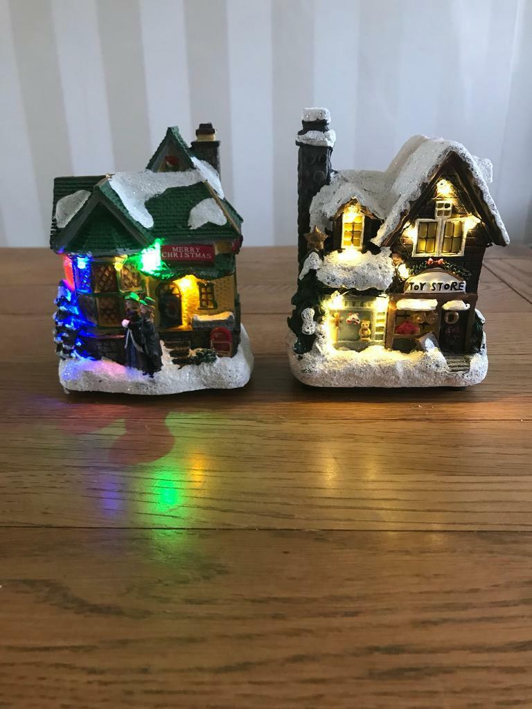 Lovely Light Up Christmas Houses/Toy Shop