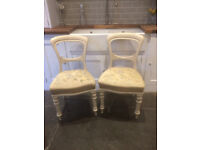Four Lovely Dining/ Kitchen/ Bedroom Painted Chairs with Needlepoint Seating