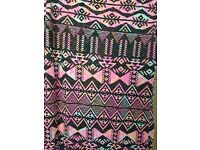 Pink retro print long dress