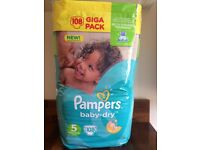 Pampers Nappies Size 5 108 package BARGAIN