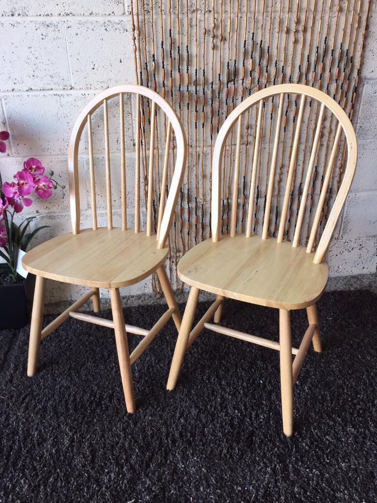 New and Ready Assembled A Pair of York Dining Chairs in Natural ...