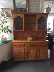 Dresser / display cabinet. Quality pine. 2 parts for easy transportation lovely