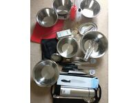 Mostly new catering / kitchen equipment, steel bowl spoon whisk thermometer cooking event supplies