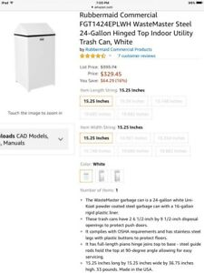 Rubbermaid Commercial FGT1424EPLWH Steel 24-Gallon Trash Can