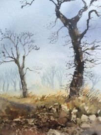 Original watercolour by Celia Vodden of a winters scene titled Hunsworth Road.