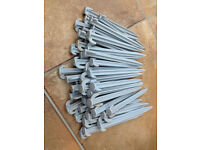 46 NEW Plastic Camping Grey Pegs