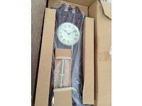 New in box fox & Simpson walnut pendulum chime clock