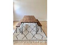 dining table wood rustic industrial handmade in London