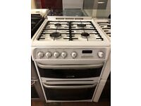 60CM WHITE CANNON DOUBLE OVEN GAS COOKER