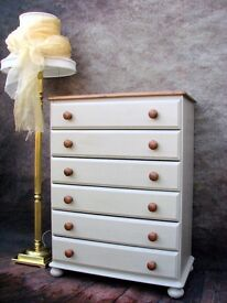 Vintage Pine Chest Of Drawers Painted Country Farmhouse