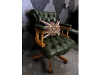 Stunning Chesterfield Antique Green Captains Swivel Office Chair Leather - UK Delivery