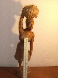 Rustic carving from Haiti of local woman height 21 inches weight 1.5 kilo
