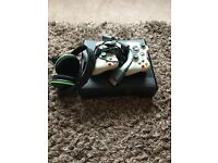 Xbox360, two controllers and headset.