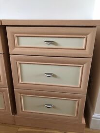 Beech effect bedside cabinets and chest of drawers