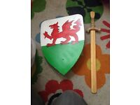 Wooden Shield and Sword