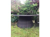 All-weather outdoor rattan dining table