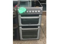 HOTPOINT 50CM CEROMIC TOP ELECTRIC COOKER IN SILIVER
