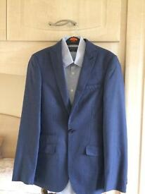 "M & S 34"" super slim fit Limited Edition two piece blue suit with shirt"