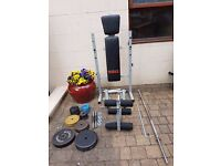 York Fitness Workbench with weights and attachments.