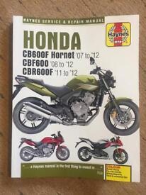 Brand new Haynes manual for Honda CBF600 / CBR600F / Hornet
